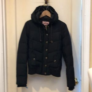 Juicy Couture Down Puffer jacket w/ruffle hood